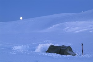 Single tent in large snow field.